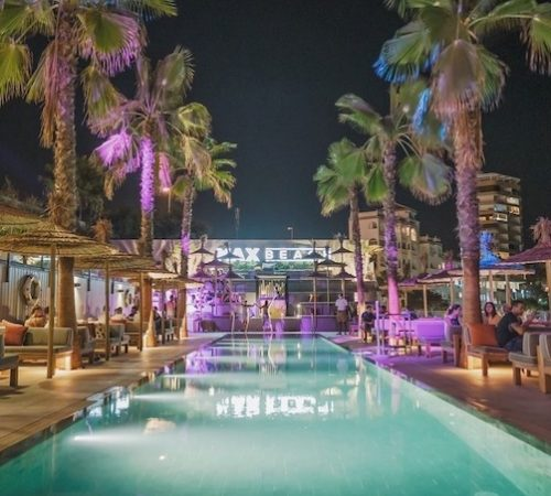 Beach club dining night time Marbella Evening meal